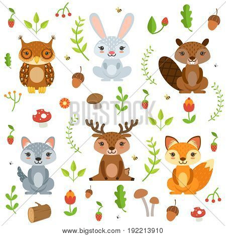 Forest animals in cartoon style. Vector characters set isolate on white. Character forest animal, illustration of cartoon animals