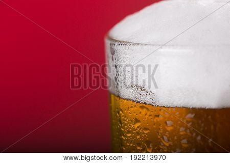 Light beer mug against the backdrop of the bar shelf.