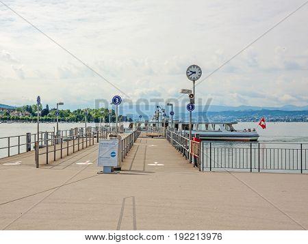 Shipping Pier At Burkliplatz, Lake Zuerich