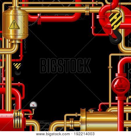 Red and gold gas pipes on black. Industrial frame and background