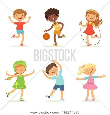 Kids playing in active games. Vector illustrations of funny children at playground. Happy child girl and boy, childhood and youthful