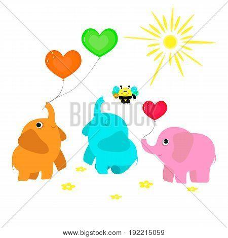 Vector flat illustration for prrint. Cute cartoon animals. Funny party. Elephants beeballoonsflowers.