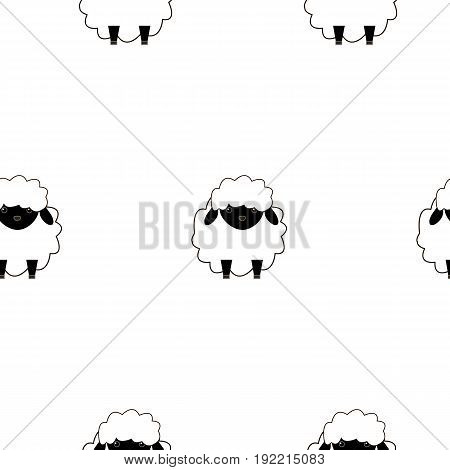 Seamless pattern with sheep. Vector flat illustration. Outline.White background.