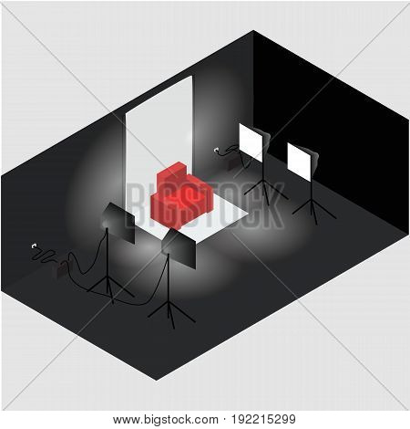 Isometric photo studio room interior with workplace equipment and professional lighting. All objects are isolated. In vector