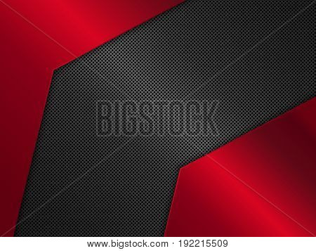 Black and red metal background, Vector metallic banner, Abstract technology background