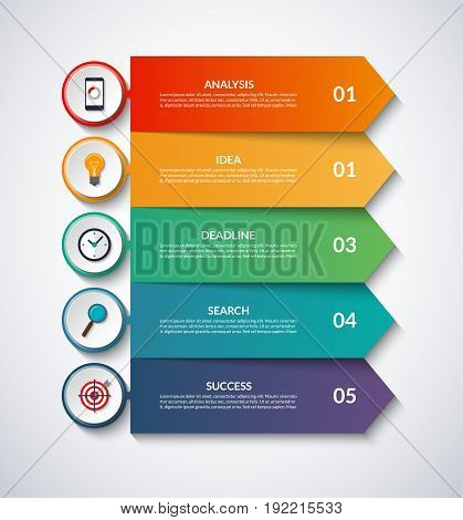 Infographic arrows with circular design elements. Vector layout template of 5 steps, options. Can be used for graph, chart, diagram, step by step infographics, web design.