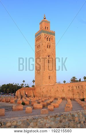 Koutoubia mosque in Marrakech Morocco in the evening