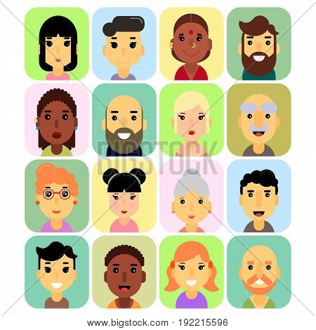 The icons are rectangular in shape with rounded corners, users and people icons with white background. Stock vector.