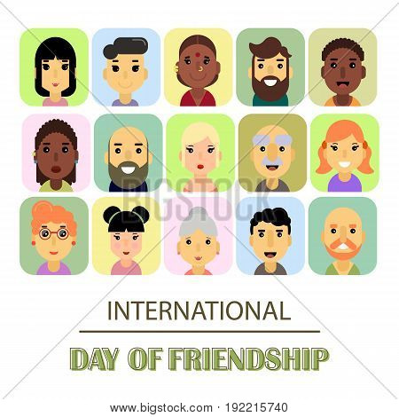 A lot of friends of different genders and nationalities as a symbol of International Friendship day. Vector illustration of banner for the International Day of friendship.
