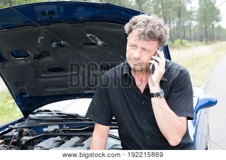 Handsome Man With Car Trouble Phone To Help