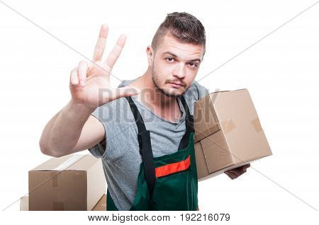Mover Guy Holding Cardboard Box Showing Number Three