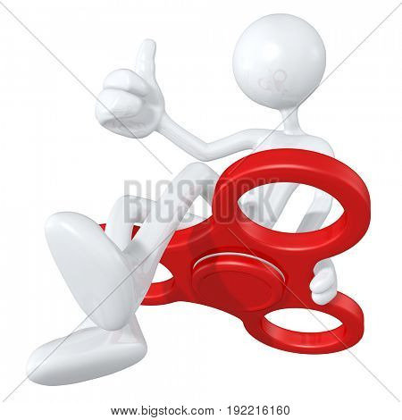 The Original 3D Character Illustration With A Giant Fidget Spinner