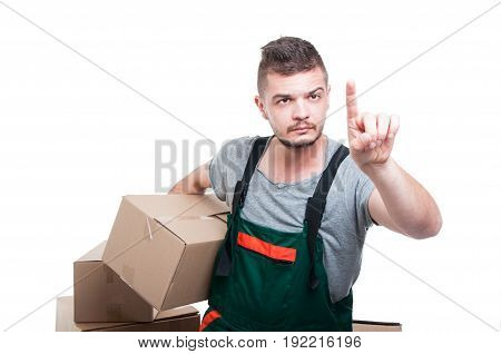 Mover Guy Holding Cardboard Box Gesturing Touchscreen