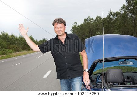 Make The Hitchhiker On The Side Of The Road Because Car In Breakdown