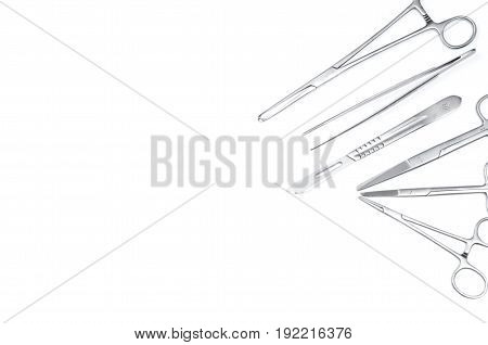 Surgical instruments Set for surgery on white background