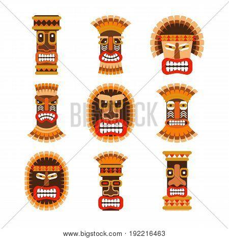 Tribal ethnic african ritual masks set. Vector illustration