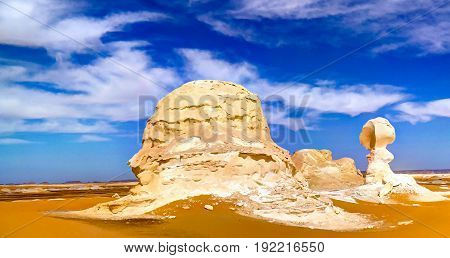 Abstract nature rock formations aka sculptures in White desert Sahara Egypt