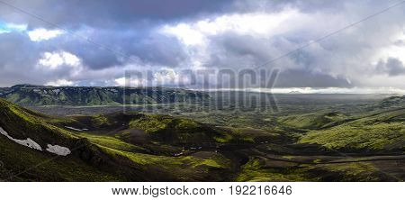 Landscape of Lakagigar volcanic valley in central Iceland