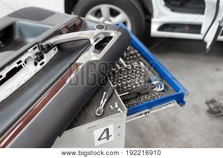 tools for service station. A large set of tools for any size of nuts. In a special drawer. spanners and socket nozzles. can use to display or montage product or make a website for service