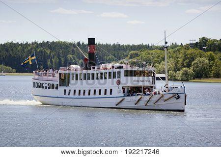 STOCKHOLM - JUN 19, 2017old-timer steamer, Lake Maelaren, Stockholm, Sweden
