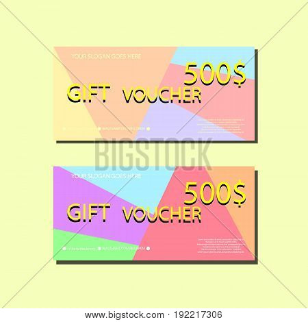 Gift Voucher Template With colorful Abstract Texture For your Designt. Vector Illustrarion