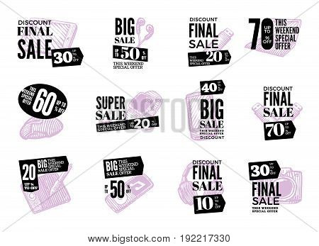 Hand drawn modern gadget logos set with electronic devices and advertising sale inscriptions isolated vector illustration