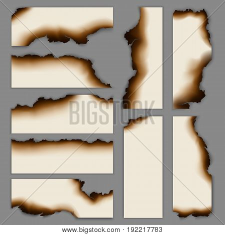 Realistic burnt scorched paper banners collection of different shapes on gray background isolated vector illustration