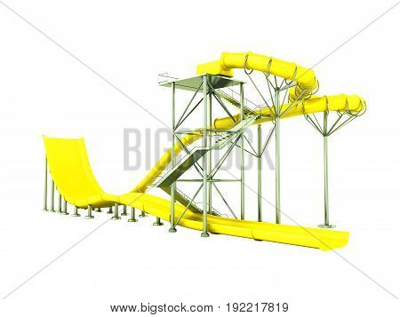 Aqua Park Water Carousel Yellow 3D Render On White Background No Shadow