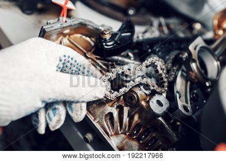 mechanic repairman at automobile car engine maintenance repair work. the chain of the engine. can use to display or montage product or make a website for service