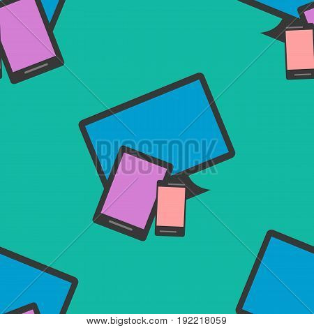 Seamless Pattern of colorful Isoleted Devices. Flat Design. Vector Illustration.