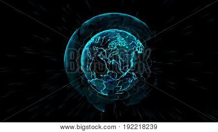 Earth sphere communications global technology.Outline earth with grid line on center of space illustration. global network connection illustration