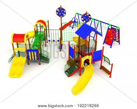 Children's Play Complex 3D Render On White Background