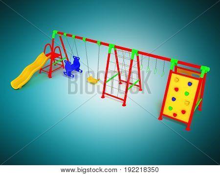 Children's Playground Red 3D Render On Blue Background