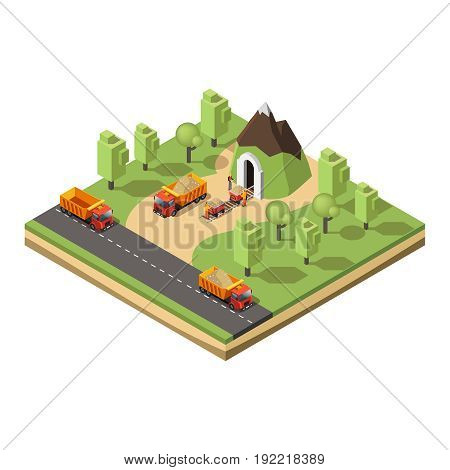 Isometric coal extraction concept with trucks trolleys workers and green trees near mine isolated vector illustration