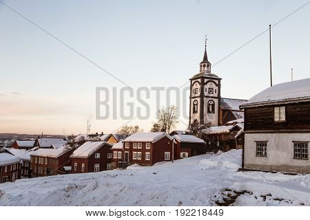A Beautiful Morning Panorama Of A Small Norwegian Town Roros