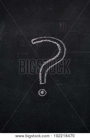 White question mark drawn with chalk on blackboard