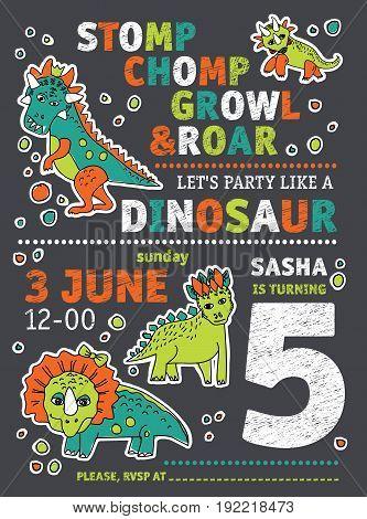 Invitation dinosaurs party birthday. Color vector illustration. EPS8