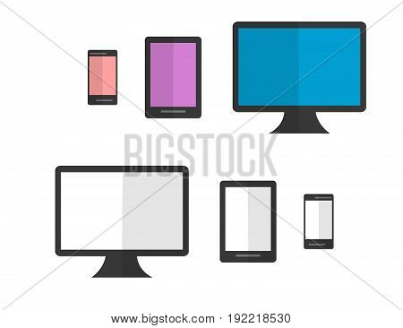Set of colorful black and white Isoleted Devices. Flat Design. Vector Illustration.