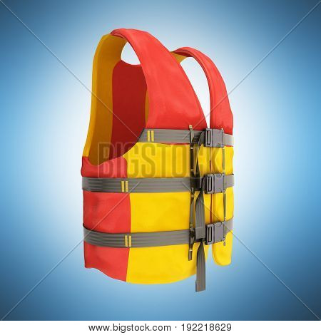 Life Vest Red Yellow 3D Render On Blue Background