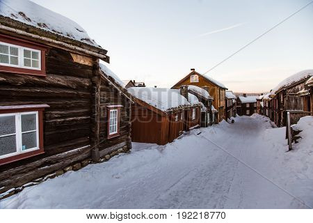 A Beautiful Historic Street Of A Small Norwegian Town Roros