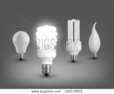 Realistic lamps collection with led incandescent halogen and shining fluorescent electric bulbs isolated vector illustration
