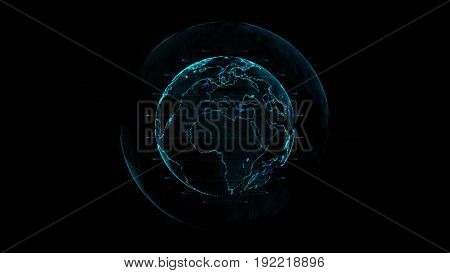 Outline earth with grid line on space illustration.Future world with technology concept.