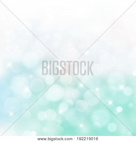 Lights on blue and green background bokeh circle bluured Vector Illustration Graphic Design Useful For Your Design. Bright Blue Abstract Christmas Background With White Snowflakes