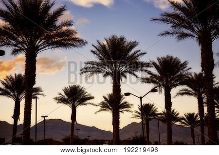 Las Vegas, Nevada sunset with the mountains in the distance