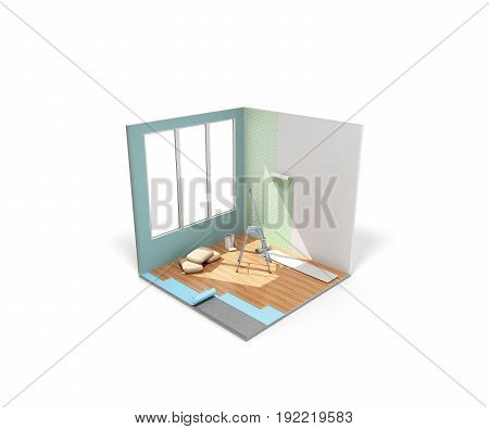 Concept Of Repair Work Isometric Low Poly Home Room Renovation Icon 3D Render On White