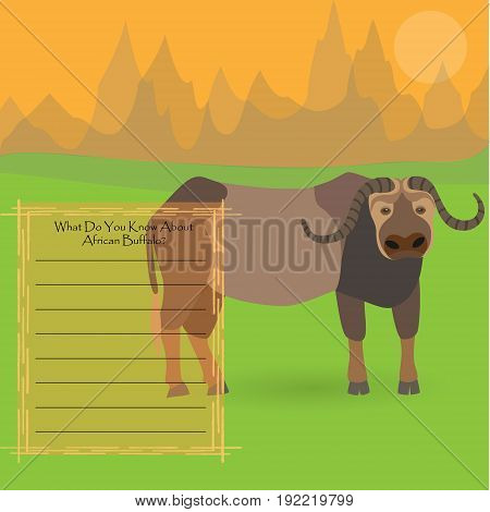 African Buffalo Against Symplistic Nature Background and Poster with Space for Interesting Facts about this Animal. Educational Card for Childrens Schooling. Vector EPS 10