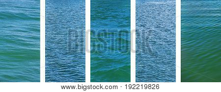 Panoramic water set of ocean seawater texture images on banner