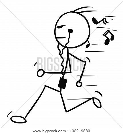 Cartoon vector doodle stickman running with music player and earphones
