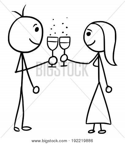 Cartoon vector doodle stickman man and woman touch glasses of vine