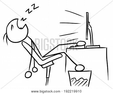 Cartoon vector doodle stickman man sleeping in front of the computer screenwith leg on the table